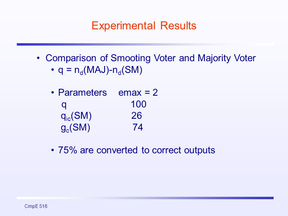 CmpE 516 Experimental Results Comparison of Smooting Voter and Majority Voter q = n d (MAJ)-n d (SM) Parameters emax = 2 q 100 q ic (SM) 26 g c (SM) 74 75% are converted to correct outputs