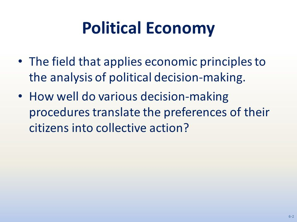 Political Economy The field that applies economic principles to the analysis of political decision-making.