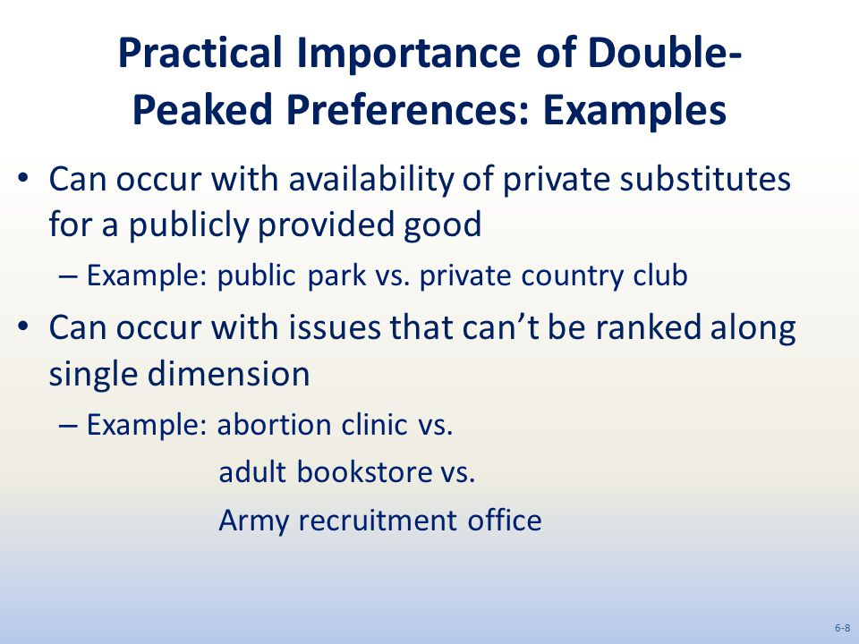 Practical Importance of Double- Peaked Preferences: Examples Can occur with availability of private substitutes for a publicly provided good – Example