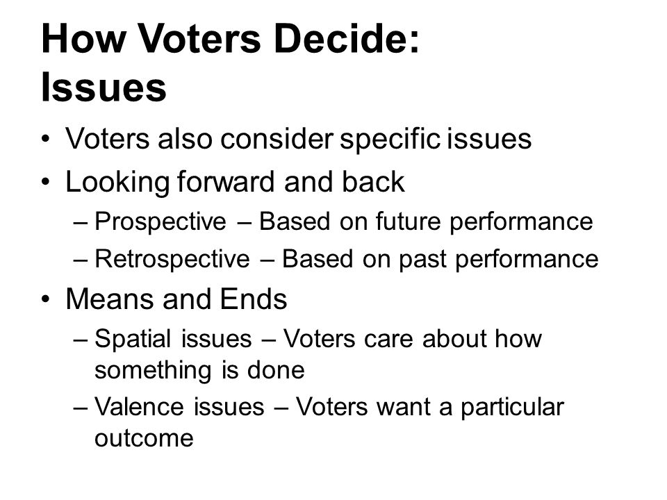 How Voters Decide: Issues Voters also consider specific issues Looking forward and back –Prospective – Based on future performance –Retrospective – Ba