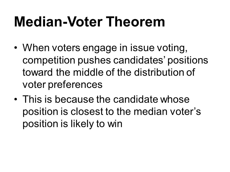 Median-Voter Theorem When voters engage in issue voting, competition pushes candidates' positions toward the middle of the distribution of voter prefe