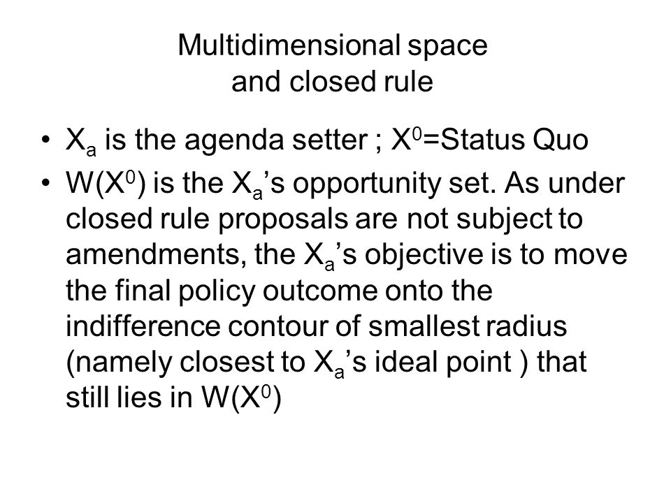 Multidimensional space and closed rule X a is the agenda setter ; X 0 =Status Quo W(X 0 ) is the X a 's opportunity set.