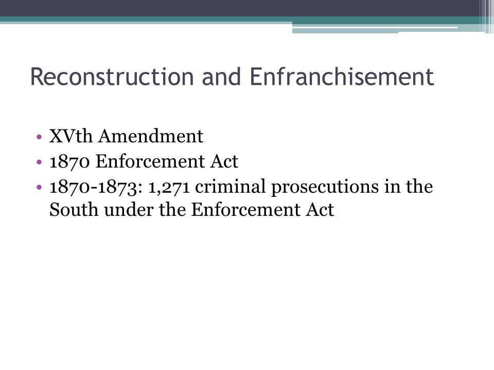 1876 US Supreme Court decisions US v.Cruikshank: private interference US v.