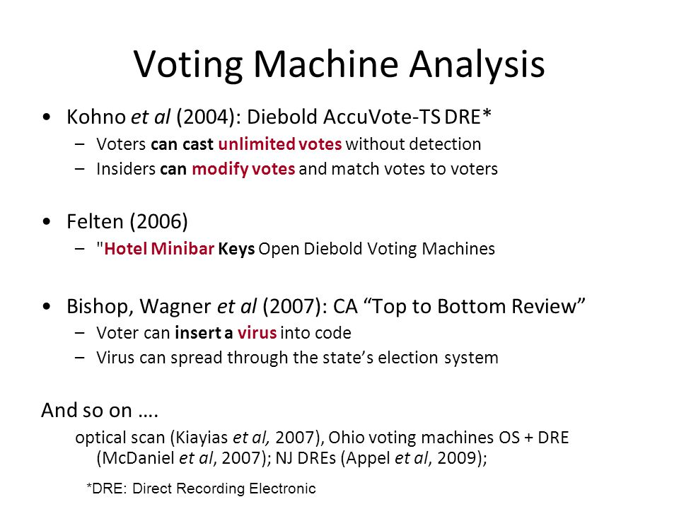Voting Machine Analysis Kohno et al (2004): Diebold AccuVote-TS DRE* –Voters can cast unlimited votes without detection –Insiders can modify votes and match votes to voters Felten (2006) – Hotel Minibar Keys Open Diebold Voting Machines Bishop, Wagner et al (2007): CA Top to Bottom Review –Voter can insert a virus into code –Virus can spread through the state's election system And so on ….