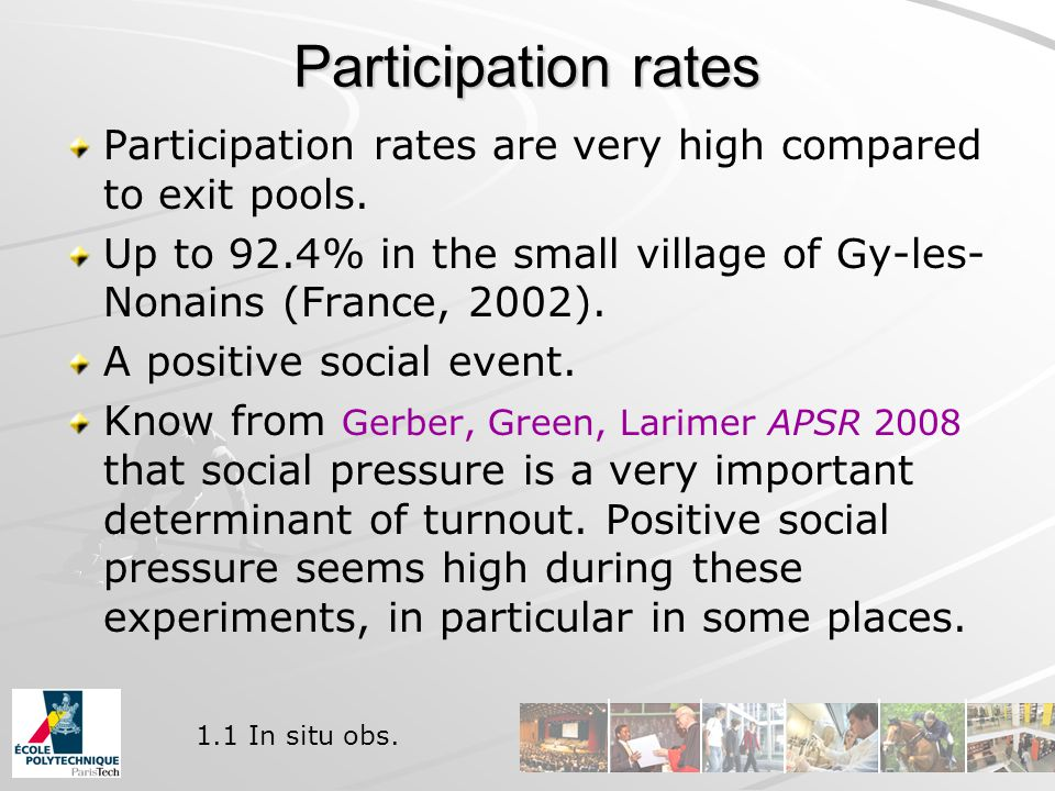 Participation rates Participation rates are very high compared to exit pools.