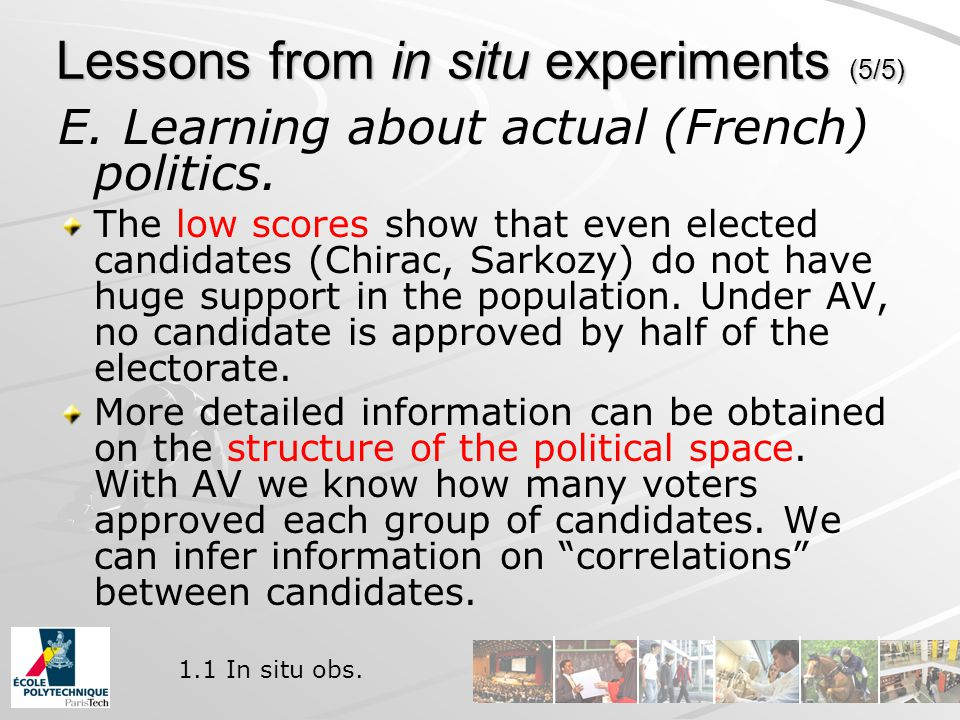 Lessons from in situ experiments (5/5) E. Learning about actual (French) politics.