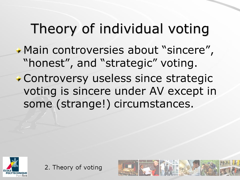 Theory of individual voting Main controversies about sincere , honest , and strategic voting.