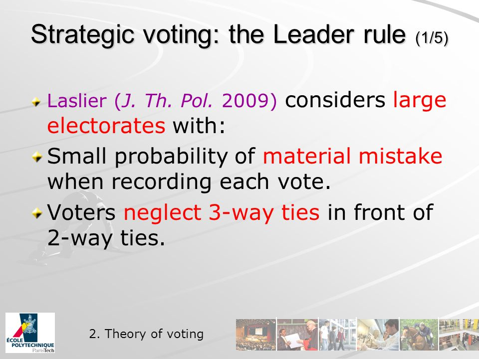 Strategic voting: the Leader rule (1/5) Laslier (J.