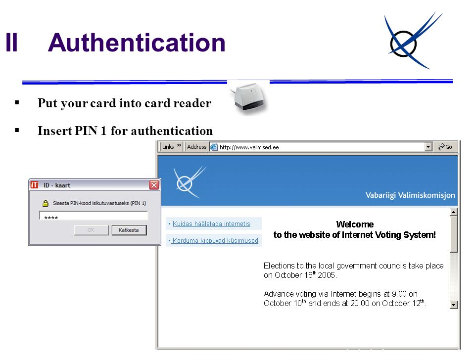 II Authentication  Put your card into card reader  Insert PIN 1 for authentication ****