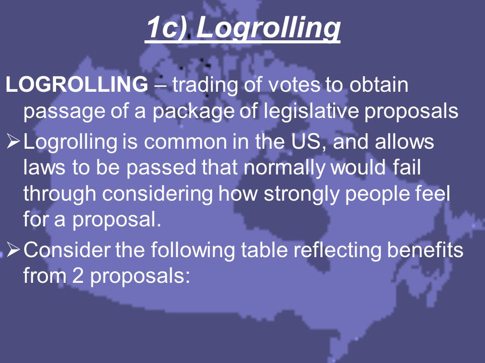 1c) Logrolling LOGROLLING – trading of votes to obtain passage of a package of legislative proposals  Logrolling is common in the US, and allows laws