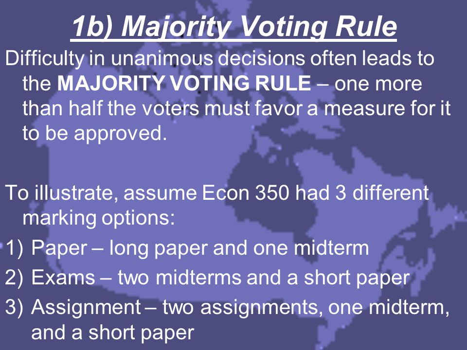 Part III Conclusion  Logrolling involves grouping projects and trading votes  This can lead to minority special interests decreasing society welfare  Arrow's Impossibility Theorem shows a democracy can't be guaranteed to make consistent decisions