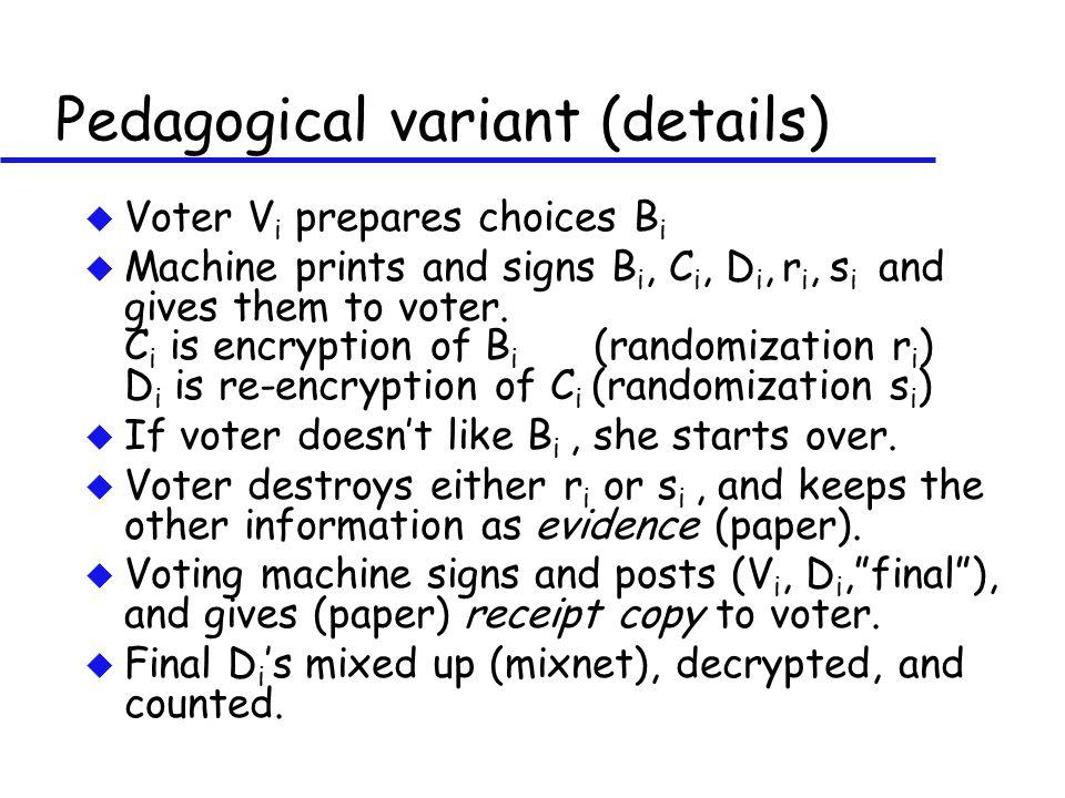 Pedagogical variant (details) u Voter V i prepares choices B i u Machine prints and signs B i, C i, D i, r i, s i and gives them to voter.