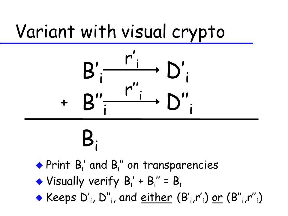 Variant with visual crypto u Print B i ' and B i '' on transparencies u Visually verify B i ' + B i '' = B i u Keeps D' i, D'' i, and either (B' i,r' i ) or (B'' i,r'' i ) B' i D' i r' i B'' i D'' i r'' i BiBi +