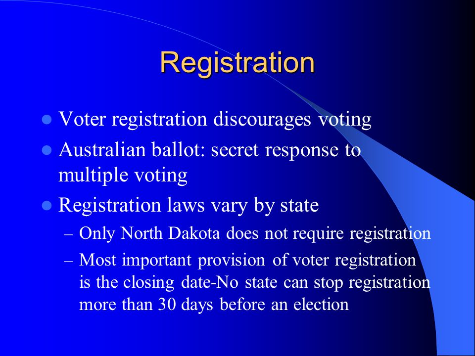 Registration Voter registration discourages voting Australian ballot: secret response to multiple voting Registration laws vary by state – Only North Dakota does not require registration – Most important provision of voter registration is the closing date-No state can stop registration more than 30 days before an election