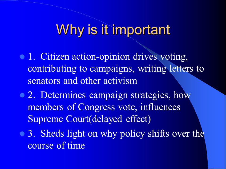 Why is it important 1.