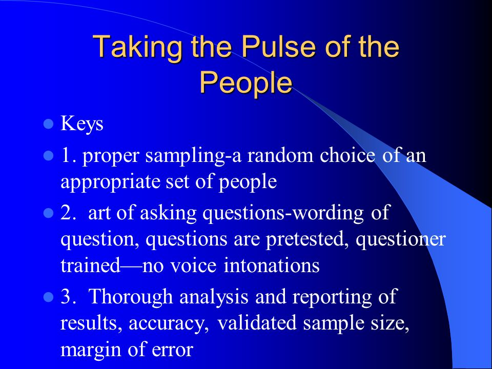 Taking the Pulse of the People Keys 1.