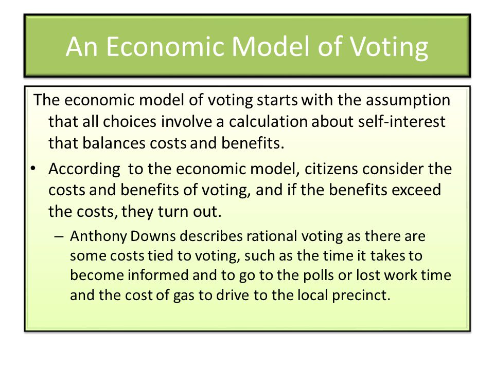 An Economic Model of Voting The economic model of voting starts with the assumption that all choices involve a calculation about self-interest that balances costs and benefits.
