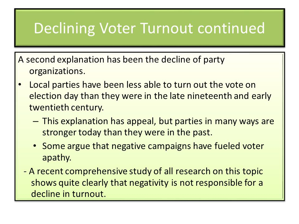 Declining Voter Turnout continued A second explanation has been the decline of party organizations.