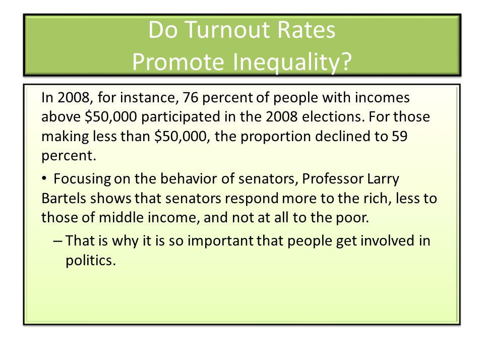 Do Turnout Rates Promote Inequality? In 2008, for instance, 76 percent of people with incomes above $50,000 participated in the 2008 elections. For th