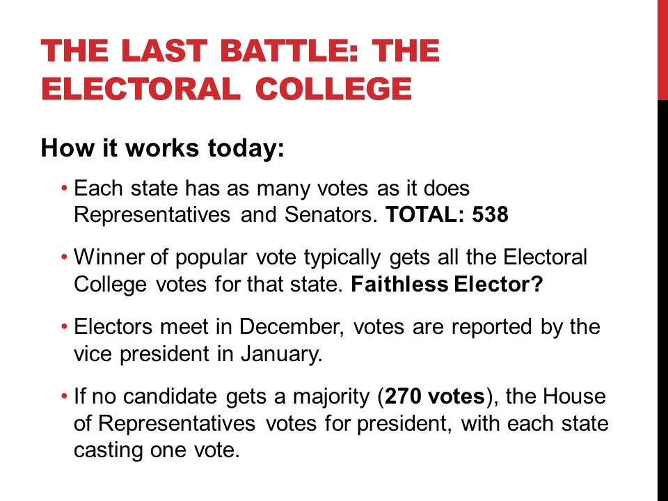 THE LAST BATTLE: THE ELECTORAL COLLEGE How it works today: Each state has as many votes as it does Representatives and Senators. TOTAL: 538 Winner of