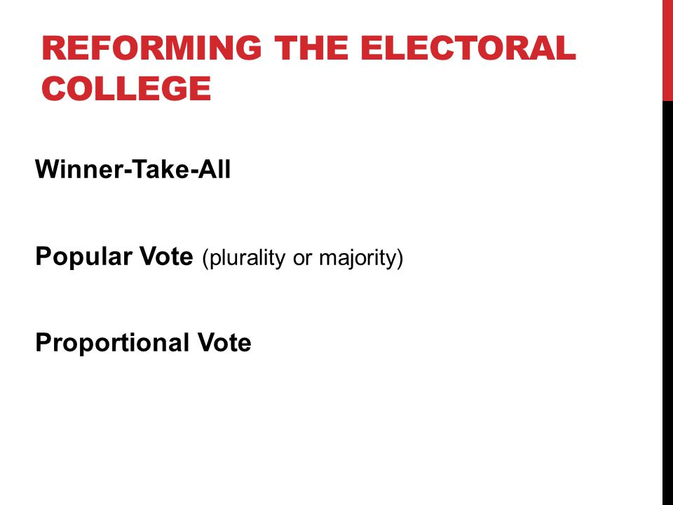REFORMING THE ELECTORAL COLLEGE Winner-Take-All Popular Vote (plurality or majority) Proportional Vote