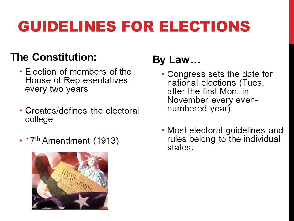 GUIDELINES FOR ELECTIONS The Constitution: Election of members of the House of Representatives every two years Creates/defines the electoral college 1