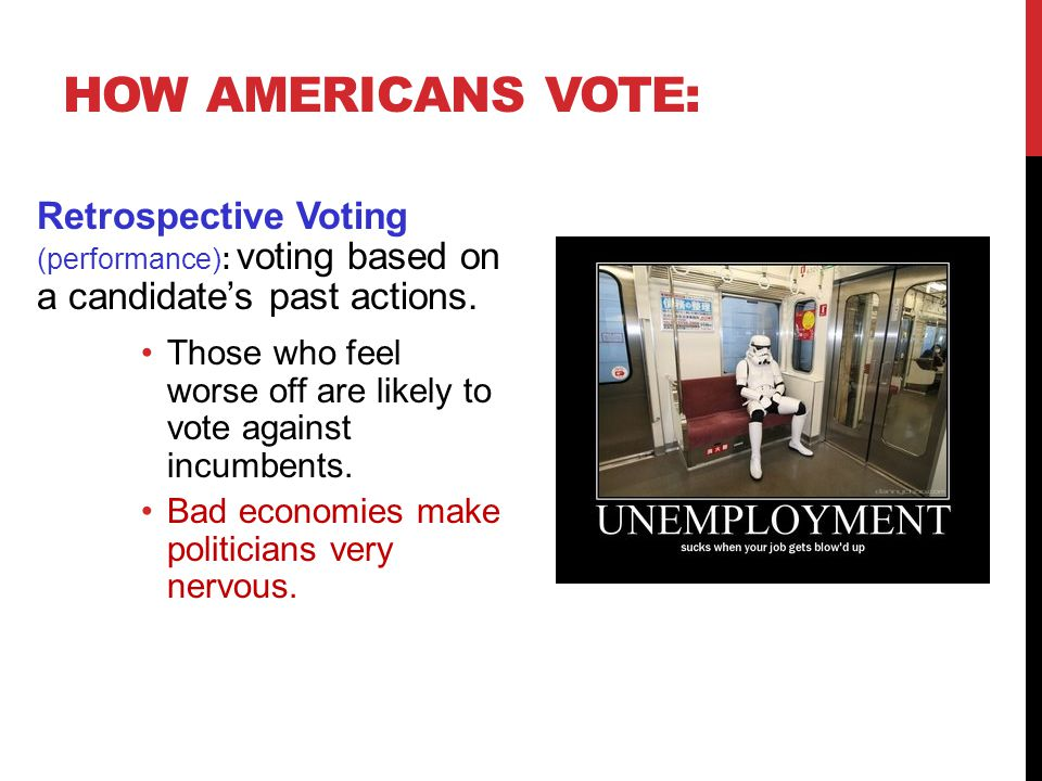 Prospective Voting (ideas) : voting based on what a candidate will do.