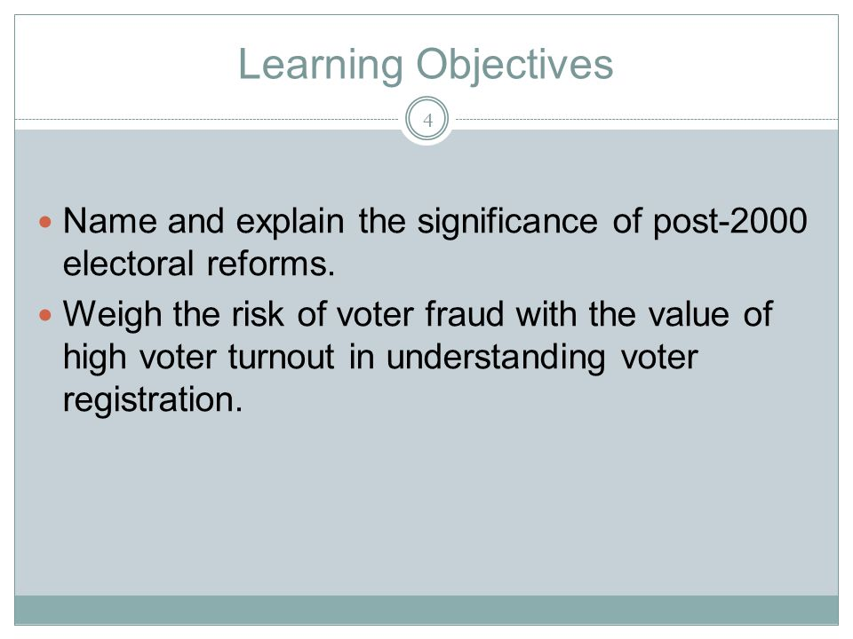 Learning Objectives Name and explain the significance of post-2000 electoral reforms.