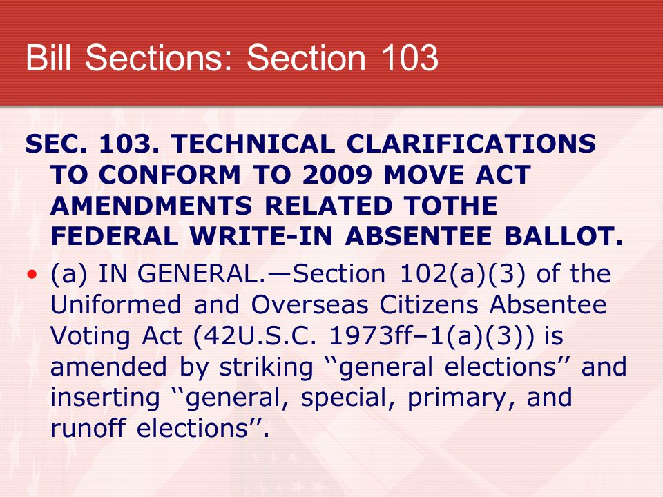 Bill Sections: Section 103 SEC. 103.