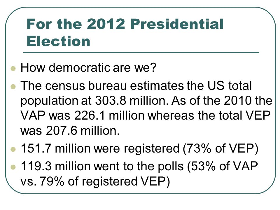 For the 2012 Presidential Election How democratic are we.