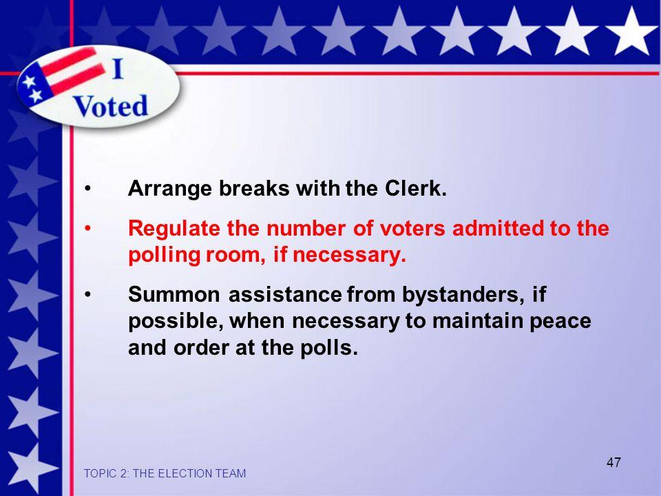 47 Arrange breaks with the Clerk.