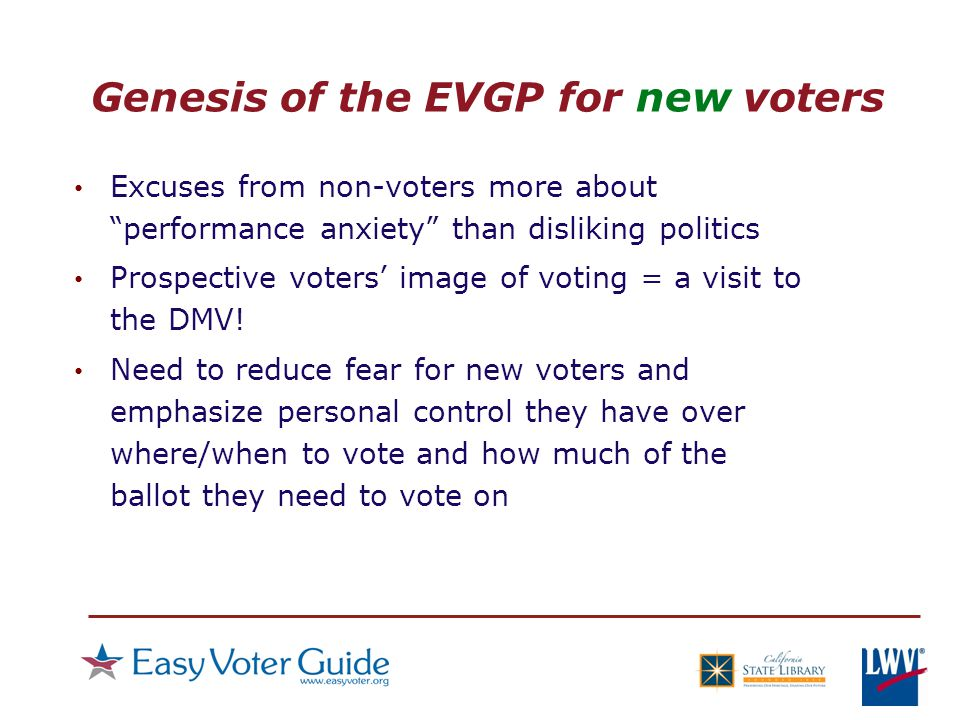 Genesis of the EVGP for new voters Excuses from non-voters more about performance anxiety than disliking politics Prospective voters' image of voting = a visit to the DMV.