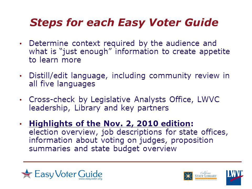 Determine context required by the audience and what is just enough information to create appetite to learn more Distill/edit language, including community review in all five languages Cross-check by Legislative Analysts Office, LWVC leadership, Library and key partners Highlights of the Nov.