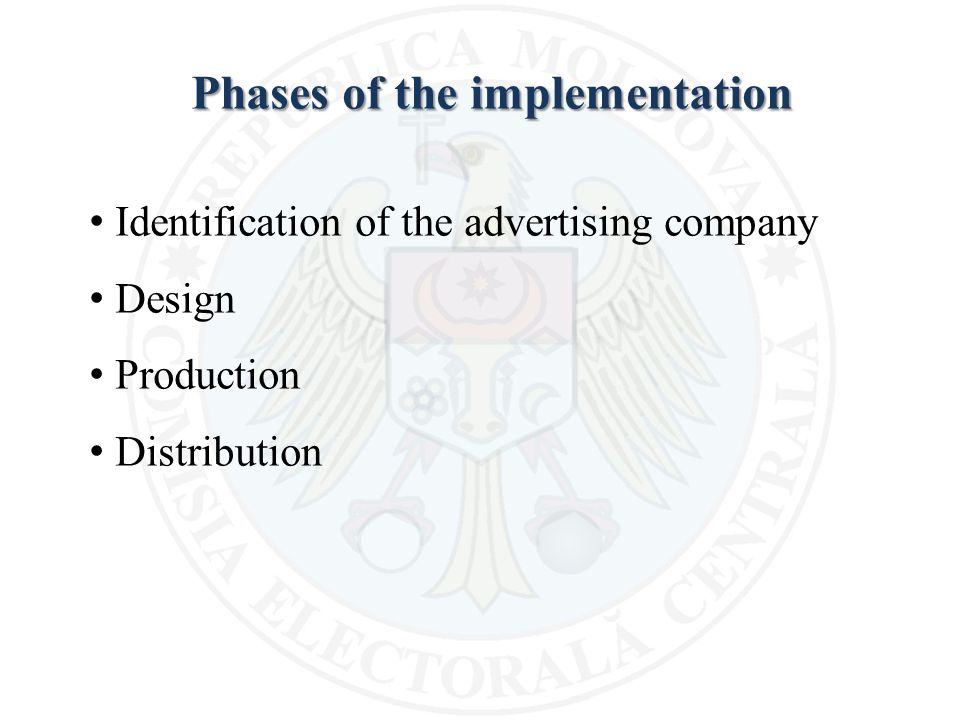 Phases of the implementation Identification of the advertising company Design Production Distribution
