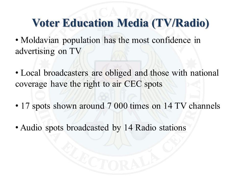 Voter Education Media (TV/Radio) Moldavian population has the most confidence in advertising on TV Local broadcasters are obliged and those with national coverage have the right to air CEC spots 17 spots shown around 7 000 times on 14 TV channels Audio spots broadcasted by 14 Radio stations