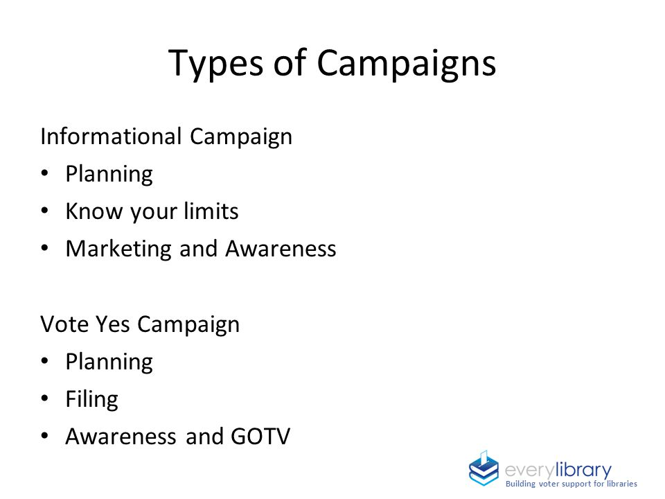 Informational Campaign Planning Know your limits Marketing and Awareness Vote Yes Campaign Planning Filing Awareness and GOTV Types of Campaigns Build