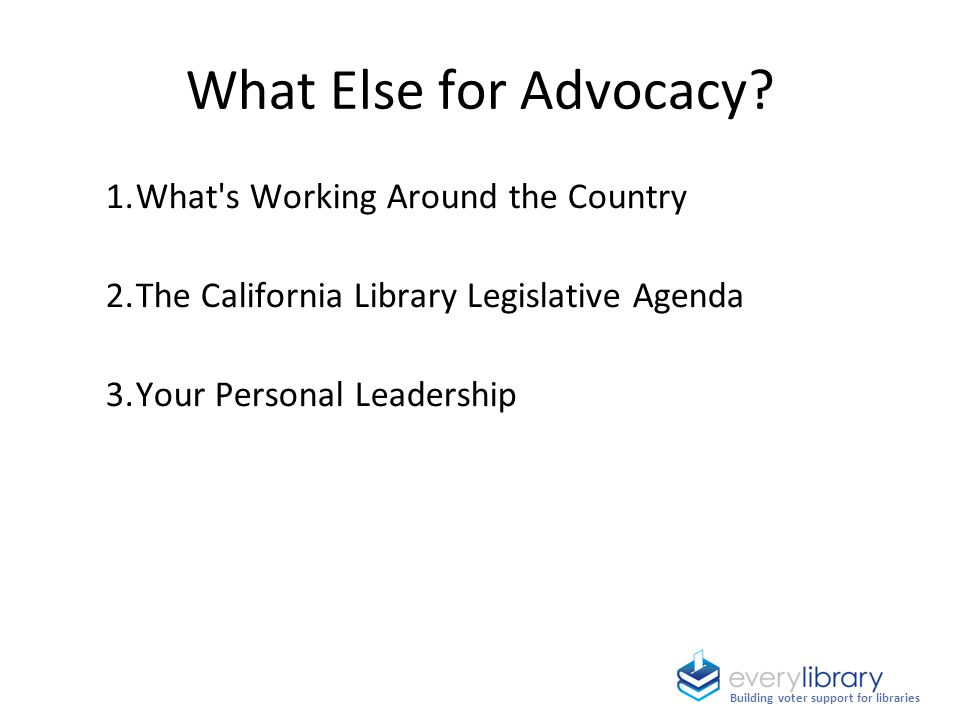 What Else for Advocacy? 1.What's Working Around the Country 2.The California Library Legislative Agenda 3.Your Personal Leadership Building voter supp