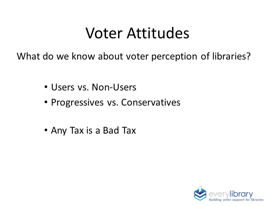 Voter Attitudes What do we know about voter perception of libraries? Users vs. Non-Users Progressives vs. Conservatives Any Tax is a Bad Tax Building