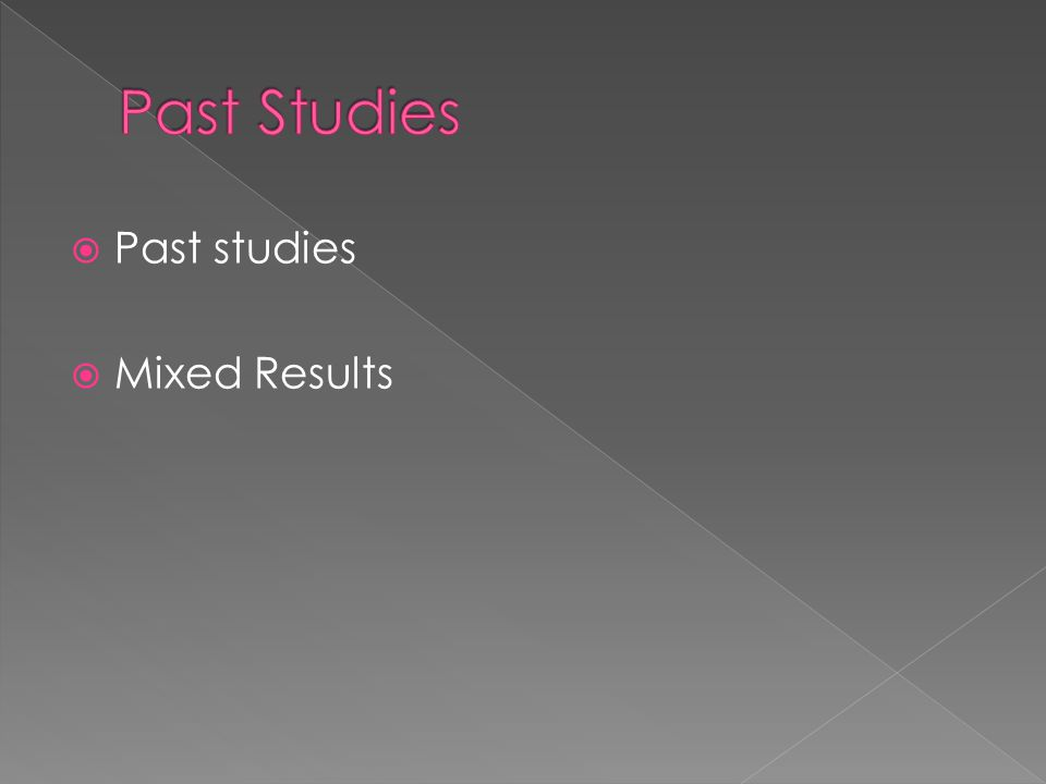  Past studies  Mixed Results