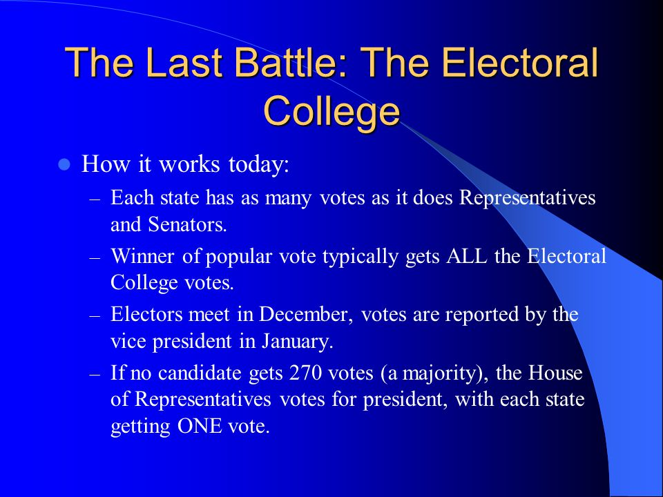 The Last Battle: The Electoral College How it works today: – Each state has as many votes as it does Representatives and Senators. – Winner of popular