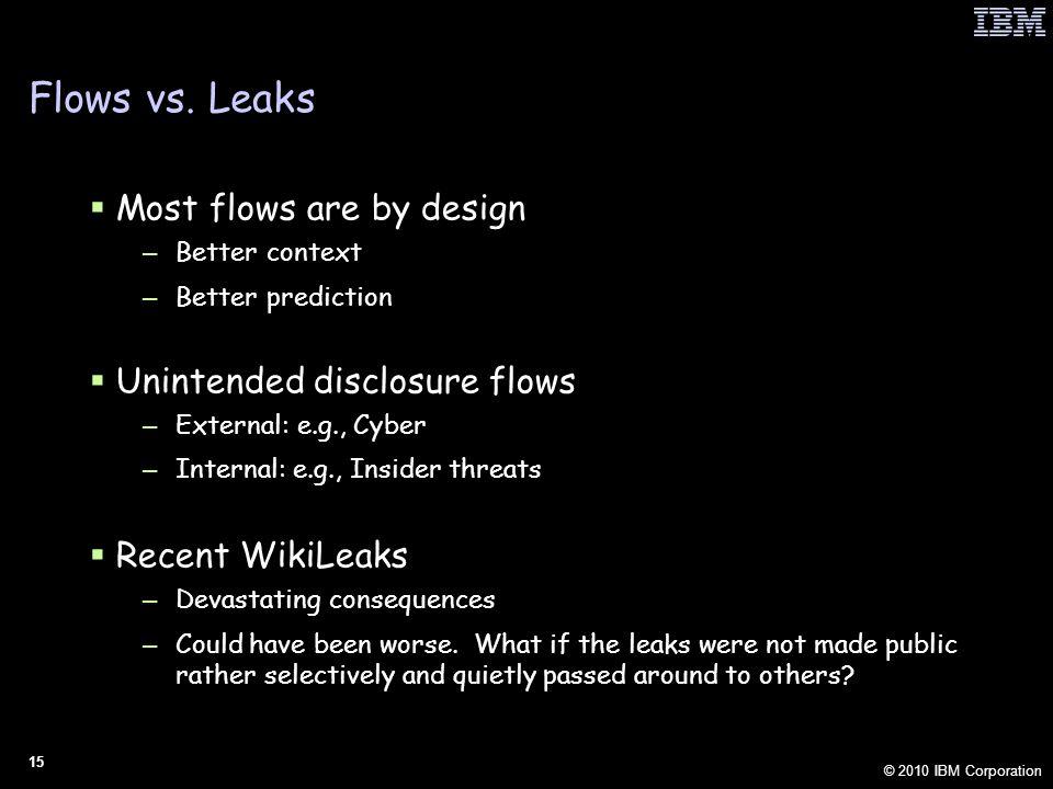 © 2010 IBM Corporation 15 Flows vs.