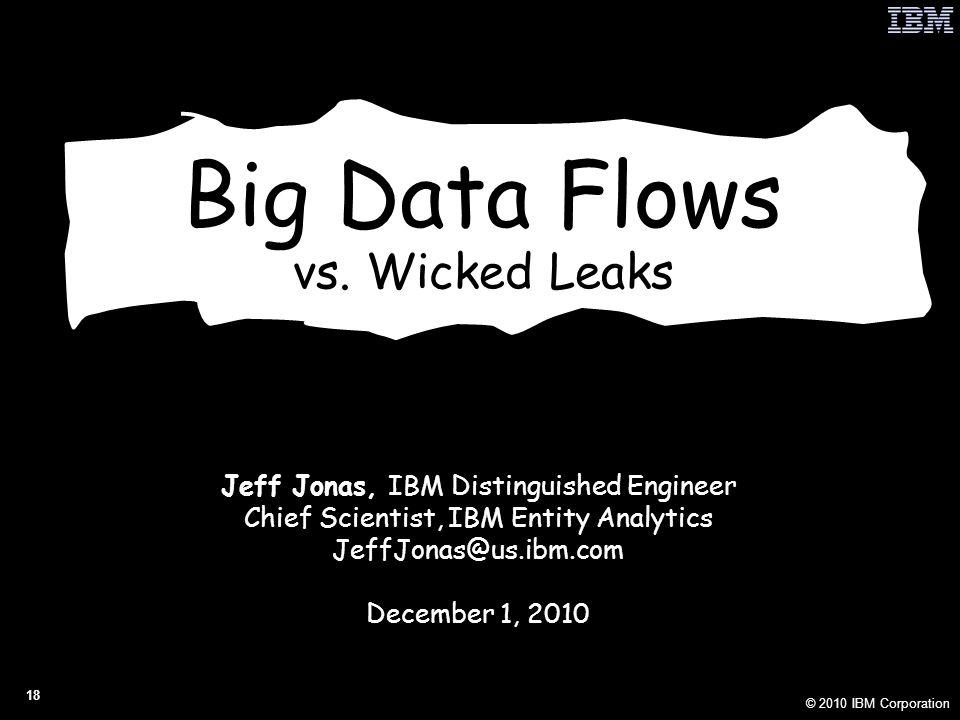 © 2010 IBM Corporation 18 Big Data Flows vs.