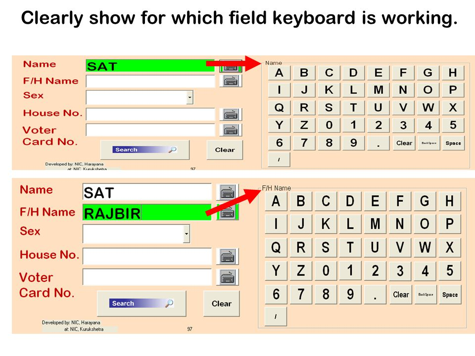 Clearly show for which field keyboard is working.