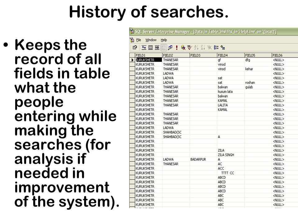 History of searches.