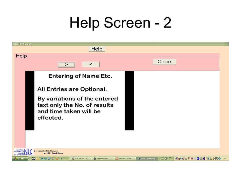 Help Screen - 2
