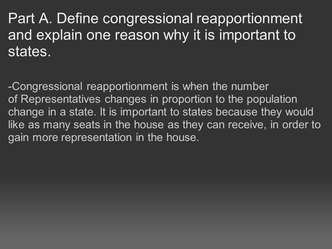 Part B: Define congressional redistricting.