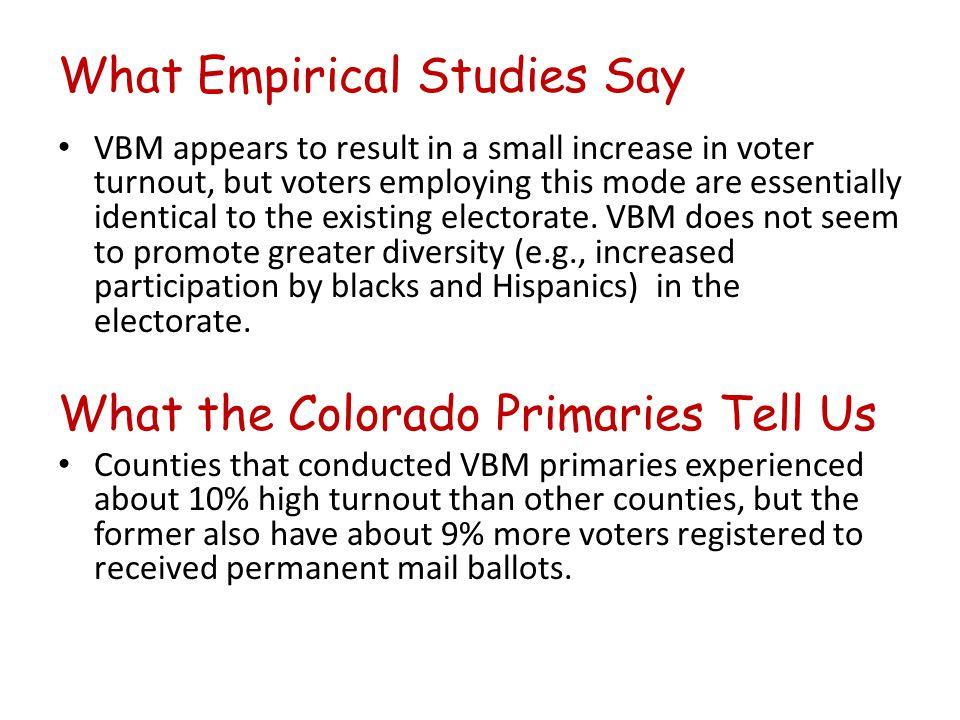 What Empirical Studies Say TURNOUT.