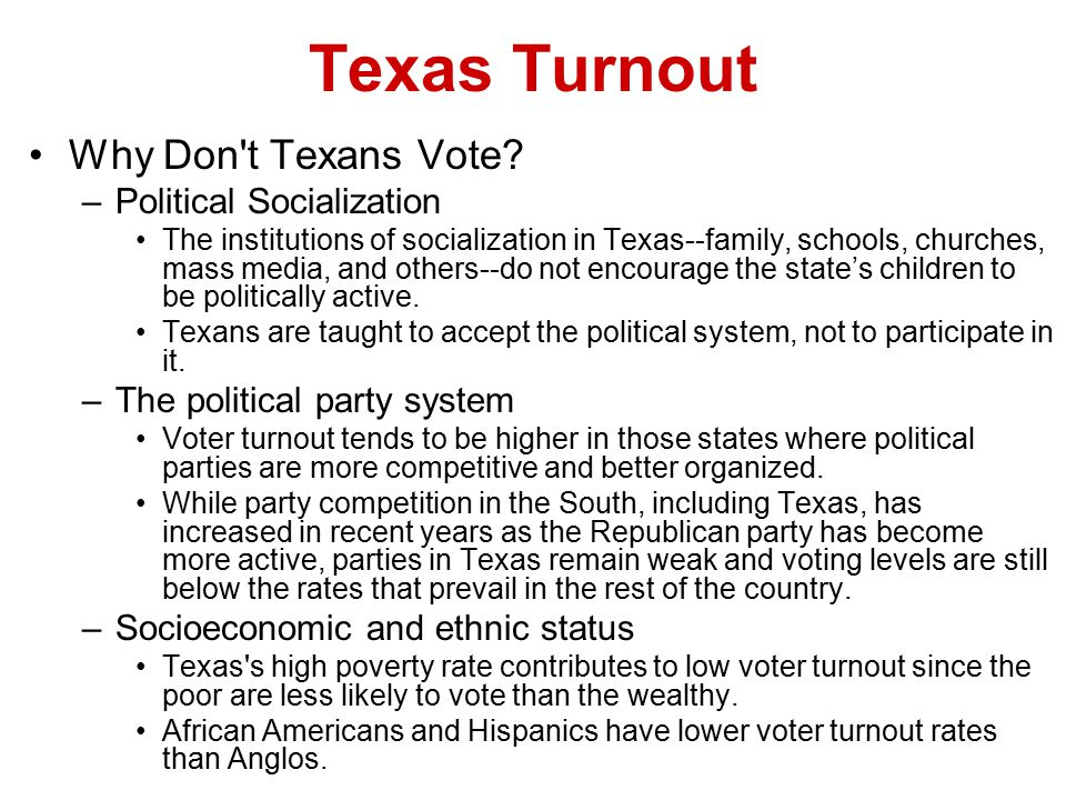 Texas Turnout The Consequences of Nonvoting –Because minority citizens tend to be more liberal than Anglos, their low voter turnout rates contribute to the conservative character of public policy in Texas.
