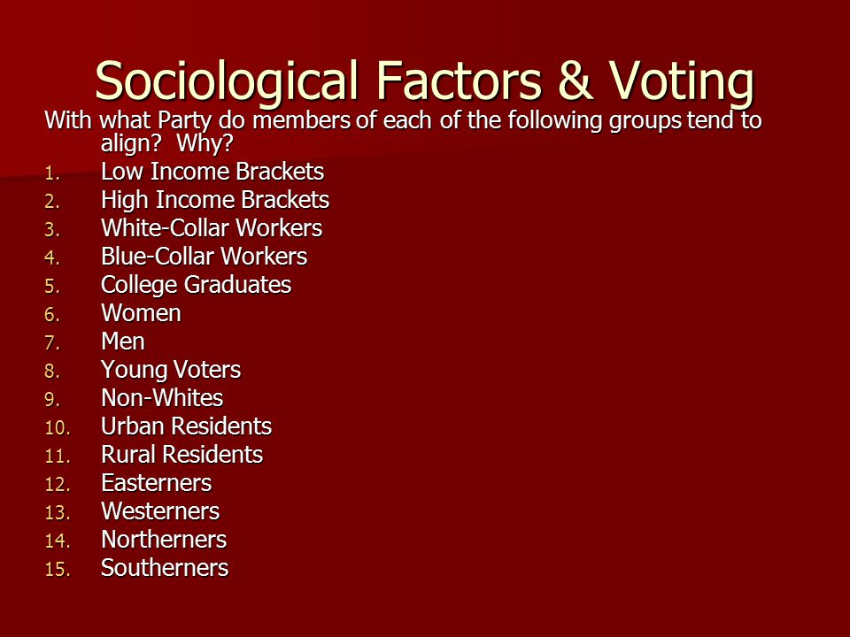 Sociological Factors & Voting With what Party do members of each of the following groups tend to align? Why? 1. Low Income Brackets 2. High Income Bra