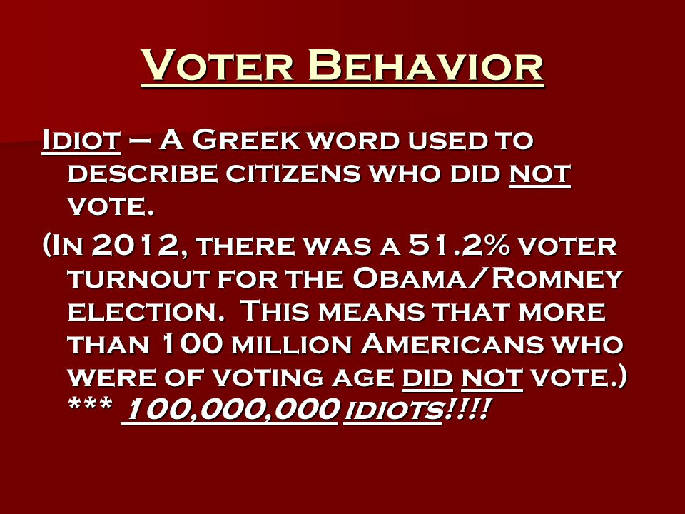Voter Behavior Idiot – A Greek word used to describe citizens who did not vote. (In 2012, there was a 51.2% voter turnout for the Obama/Romney electio